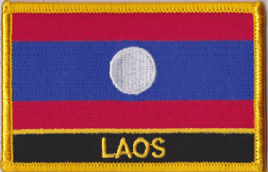 Laos Embroidered Flag Patch, style 09